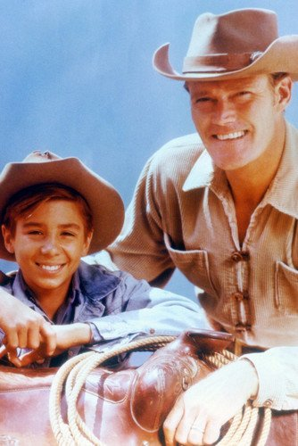 The Rifleman Chuck Connors Johnny Crawford smiling pose together Poster