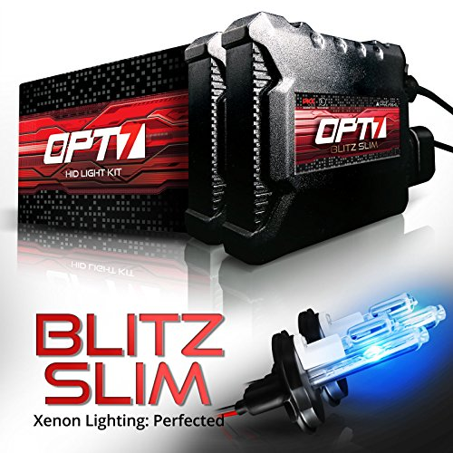 OPT7 Blitz Slim H4 9003 Hi-Lo HID Kit - 3.5X Brighter - 4X Longer Life - All Bulb Sizes and Colors - 2 Yr Warranty [10000K Deep Blue Xenon Light]