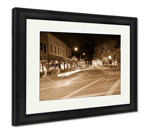 Downtown Santa Fe New Mexico - Ashley Framed Prints Woman Sitting On The Bench in Santa Fe, Wall Art Home Decoration, Sepia, 30x35 (Frame Size), Black Frame, AG6529285