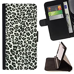 BullDog Case - FOR/LG G3 / - / leopard spots pattern black white fur bling posh /- Monedero de cuero de la PU Llevar cubierta de la caja con el ID Credit Card Slots Flip funda de cuer