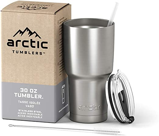 Arctic Tumblers Stainless Steel Camping & Travel Tumbler with Splash Proof Lid and Straw, Double Wall Vacuum Insulated, Premium Insulated Thermos - ...