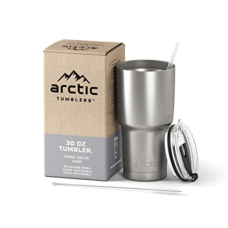 2ac2392f7b6 Arctic Tumblers Stainless Steel Camping & Travel Tumbler with Splash Proof  Lid and Straw, Double