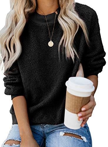 Womens Fall Autumn Fashion Tops Fluffy Faux Shearling Sweatshirt Long Sleeve Shirts Teddy Fuzzy Fleece Pullover Cashmere Warm Thick Cotton Sweater Tunic Blouse Coat M Blck