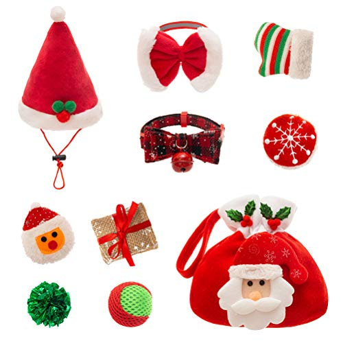 PUPTECK 9 PCS Christmas Cat Toys Set - Cat Collar, Soft Ball, Catnip Bag, Pet hat, Plush Toys, Crinkle Ball, Red Bow