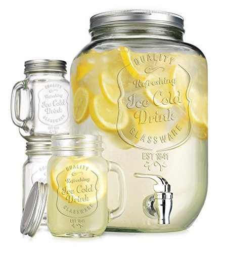 2.15 Gallon Quality Ice Cold Clear Glass Jug Beverage Dispenser with Set of 4 Ice Cold Mason Mugs and Gingham Lids and ()