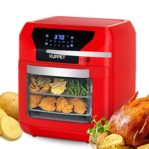 Air Fryer 10QT KUPPET Electric Hot Air Fryer, Roasting, Reheating & Dehydrating, Touch Screen Oven Oilless Cooker Extra Large Capacity Nonstick Fry Basket with Additional Accessories, 1700W, Red