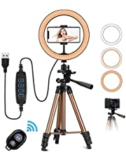 "PEYOU Selfie Ring Light with Tripod Stand,10"" USB LED Ring Lights +50"" Aluminum Extendable +Smartphone Holder+Bluetooth Remote for Makeup/Live Stream/YouTube Video Compatible with Android"