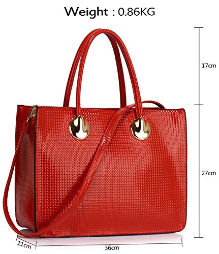 Handbag Red Tote In Women Top Luxury Ladies Designer Grab Patent Shoulder Size Bag Design Large 1 Zip Leather For UqHd1
