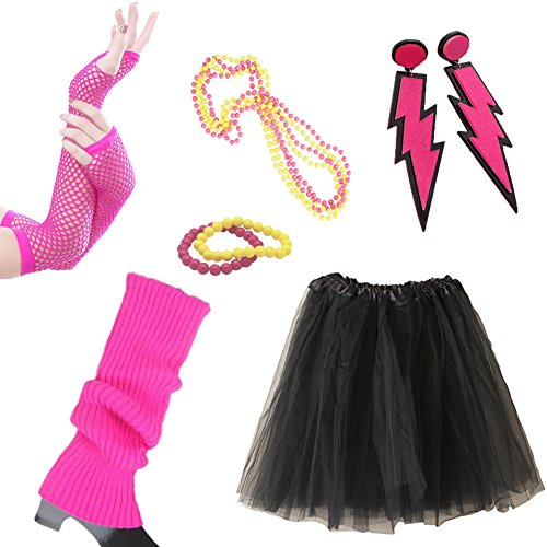 Dress Up 80s Costumes (80s Fancy Outfit Accessories Set-Adult Tutu Skirt,Leg Warmers(BLACK))