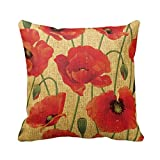 Red Poppy Flowers Throw Pillow Throw Pillow Case Home Decor Gift Anniversary Day Present 18* 18 Pillowcase Cushion Cover