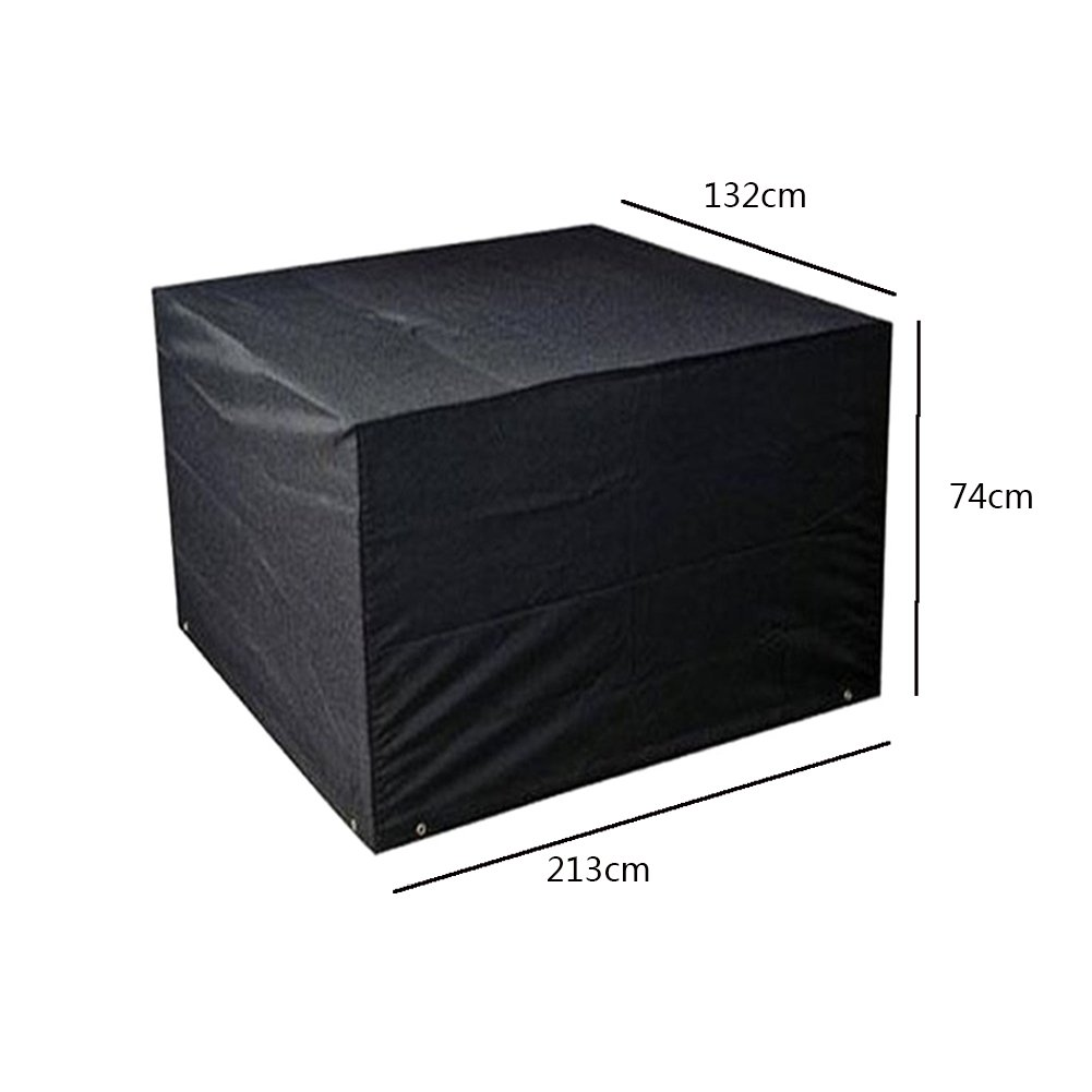 Deylaying 120 * 120 * 74cm Black Garden Furniture Waterproof Cover Protector for Square Cube Table Bench