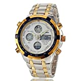 Men's Military Sports Dual Time Analog & Digital Steel Wrist Watch - White
