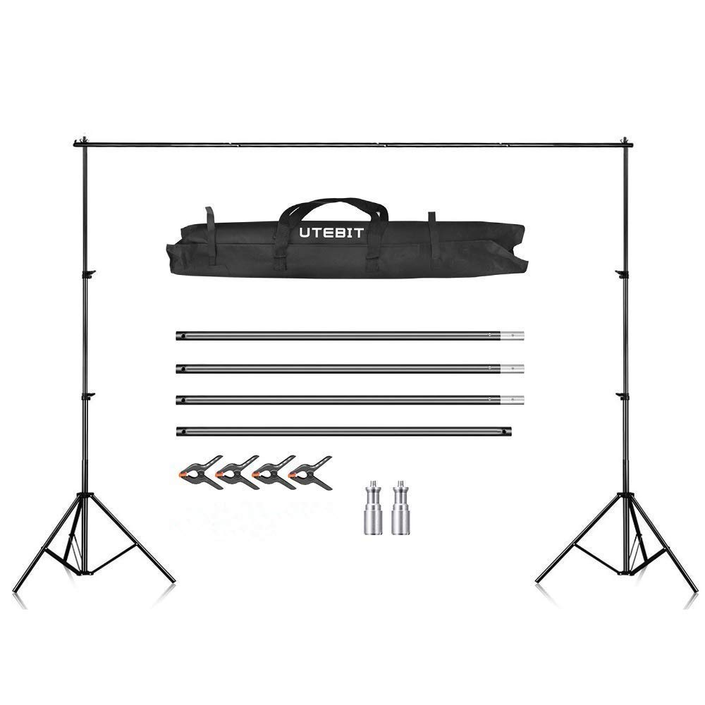 UTEBIT Photo Backdrop Stand 10ft Wide Crossbar 8.5ft Tall Adjustable Photography Background Stands Kit Heavy Duty with 4 Pack 4'' Muslin Clips and Carry Bag 8x10 Collapsible Background Support System