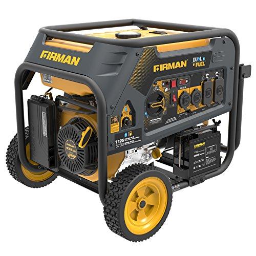 Firman H05753 7125/5700 Watt 120/240V Electric Start Gas or Propane Dual Fuel Portable Generator cETL Certified