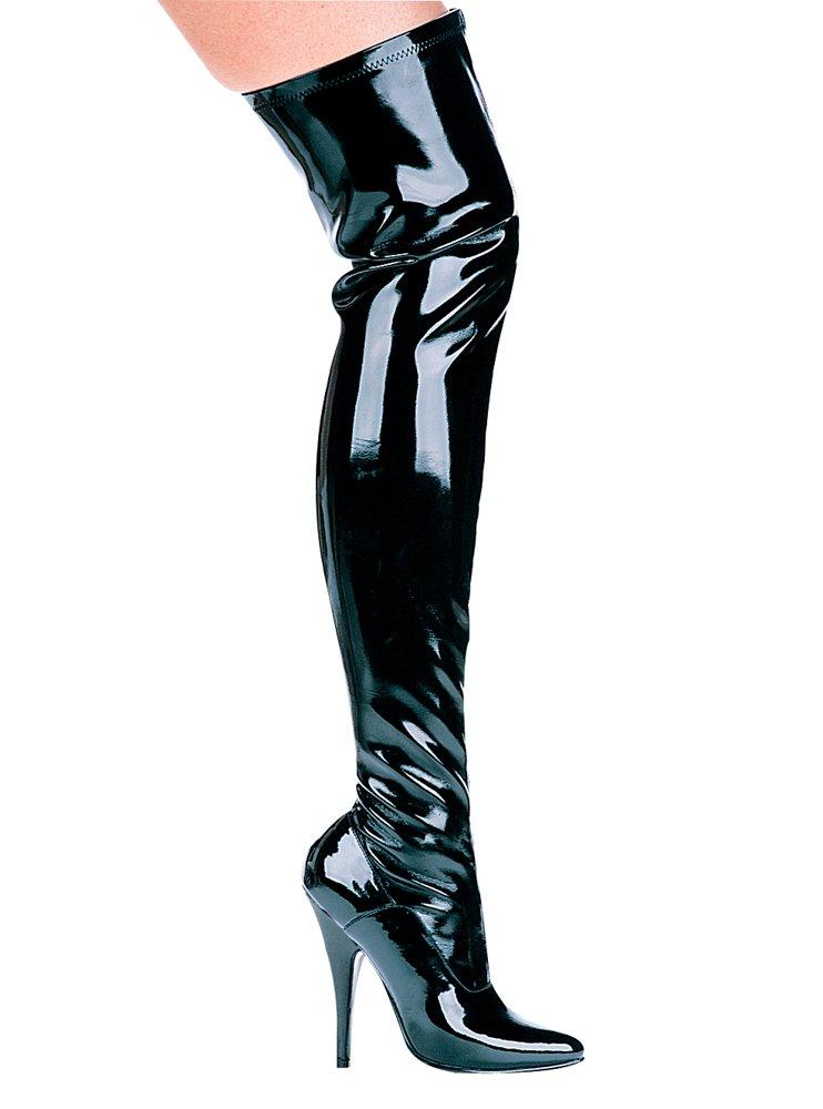 Ellie Shoes Women's 5 inch Heel Thigh High Stretch Boot B000AY4LD8 7 B(M) US|Black Pu