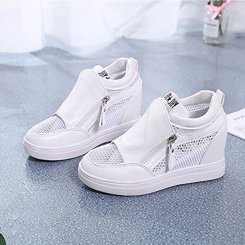 Blanco ZHZNVX Punta de PU Zapatos de con Poliuretano White de Redonda Mujer Deporte Zapatillas Verano cuña qWr6nR7qwa