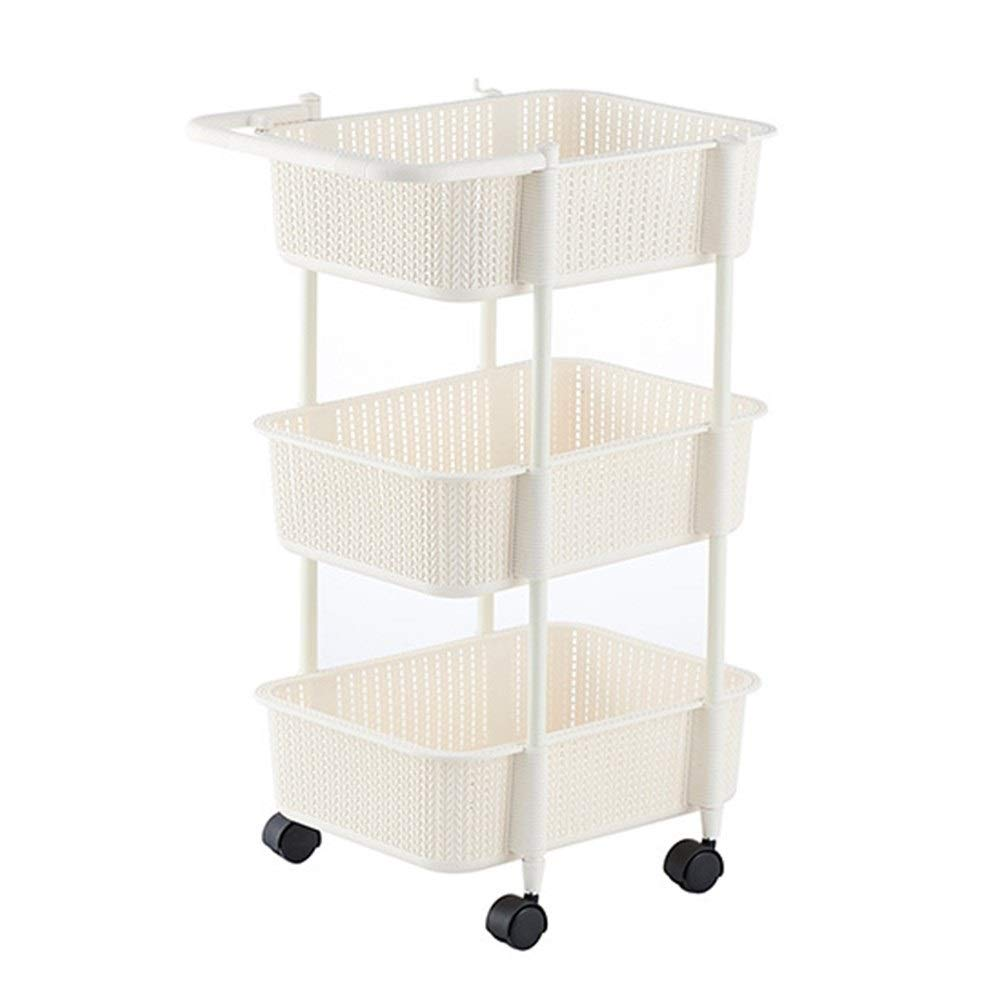 Multi-layer storage basket cart holder plastic storage rack Thick and durable drum easy to move clean and tidy 33 41.3 71cm (Color : White, Size : 3341.371cm)