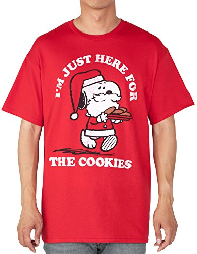 Mens Snoopy Christmas Here for Cookies T-shirt - Large