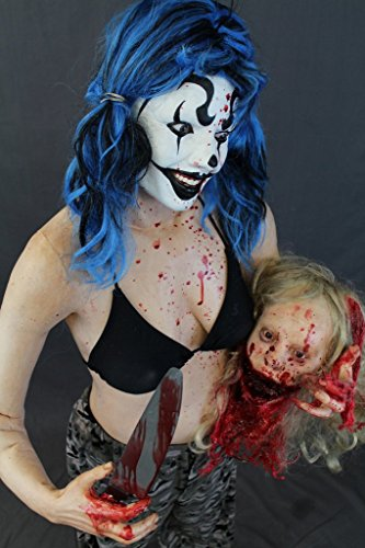 Female Zombie Head Prop (Halloween Prop Life-Size Female Clown Holding A Severed Head THE WALKING DEAD Haunted House Zombie BACK FROM THE GRAVE)