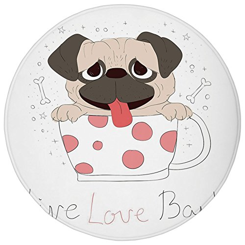 - Round Rug Mat Carpet,Pug,Live Love Bark Quote with a Cute Puppy in a Tea Cup Happiness Funny Image,Pink Black Pale Pink,Flannel Microfiber Non-slip Soft Absorbent,for Kitchen Floor Bathroom