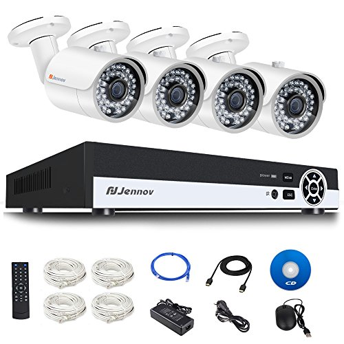 Jennov PoE CCTV Security NVR System 4 Channel 1080P Surveillance IP Network Camera HD Night Vision Outdoor Indoor, Power OVer Ethernet, Motion Detection, Mobilephone Remote View (No Hard Drive) by Jennov