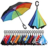 Kyпить Bagail Double Layer Inverted Umbrellas Reverse Folding Umbrella Windproof UV Protection Big Straight Umbrella for Car Rain Outdoor With C-Shaped Handle Rain Bow на Amazon.com