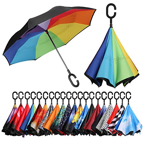 BAGAIL Double Layer Inverted Umbrellas Reverse Folding Umbrella Windproof UV Protection Big Straight Umbrella for Car Rain Outdoor with C-Shaped Handle(Rainbow)