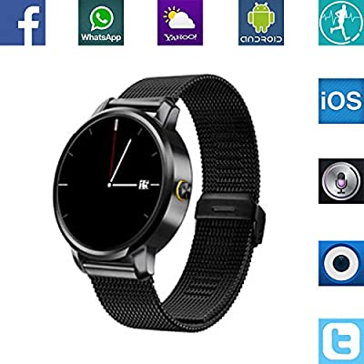 Banaus®V360 Smartwatch Digital montre connectee con Bluetooth 4.0 CPU MTK2502A-ARM7 Android e iOS for iPhone6/6S/Samsung S6/S6Edge/Huawei/Xiaomi(Black)