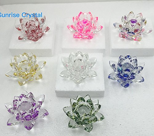 """3.5""""Inch Set of 2 Pcs of Sparkle Crystal Lotus Flower By Sunrise Crystal (Pink)"""