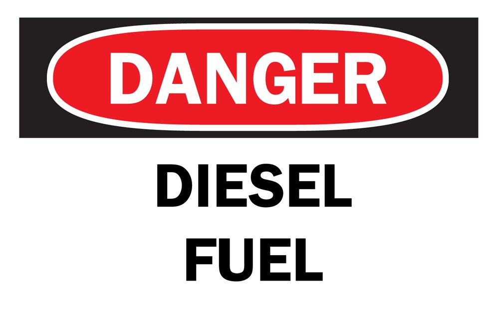 Brady 87763 5'' Width x 3-1/2'' Height B-302 Polyester, Black and Red on White Chemical and Hazardous Materials Sign, Header ''Danger'', Legend ''Diesel Fuel''