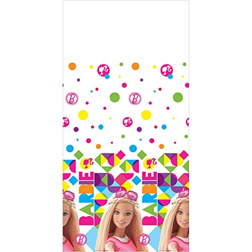 Barbie Sparkle Plastic Table Cover Birthday Party Tableware Decoration (1 Piece), Multi Color, 54