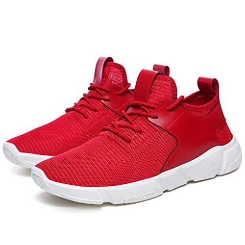 Sport De Ceinture Chaussures Hommes Course Respirant Solide Loisirs Espadrilles Occasionnelles Qinmm Rouge