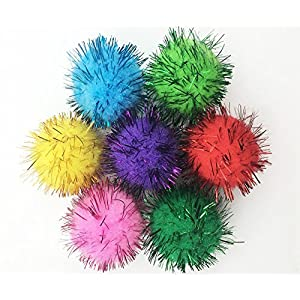 VAPKER 30 Piece Assorted Color Sparkle Balls Cat's Favorite Toy Tinsel Pom Poms Glitter 102