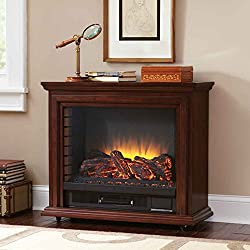 Pleasant Hearth Sheridan Mobile Fireplace, White