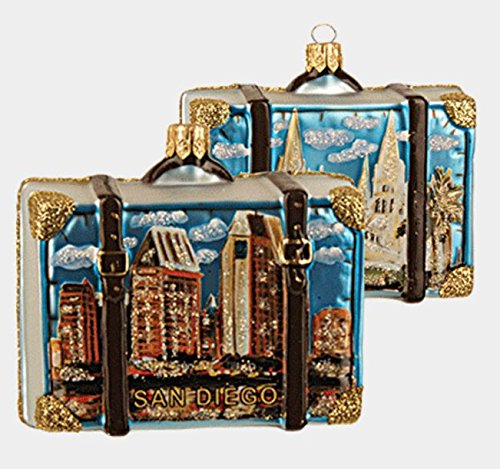 Pinnacle Peak Trading Company San Diego California Travel Suitcase Glass Christmas Ornament ONE Decoration New