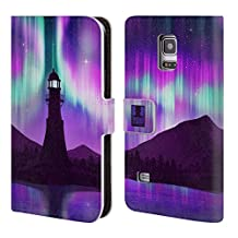 Head Case Designs Purple Lighthouse Seascape Northern Lights Leather Book Wallet Case Cover For Samsung Galaxy S4 I9500