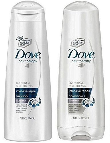 (Duo Set) Dove Damage Therapy Intensive Repair, Shampoo & Conditioner, 12 Oz. bottles (Best Damage Repair Shampoo And Conditioner)