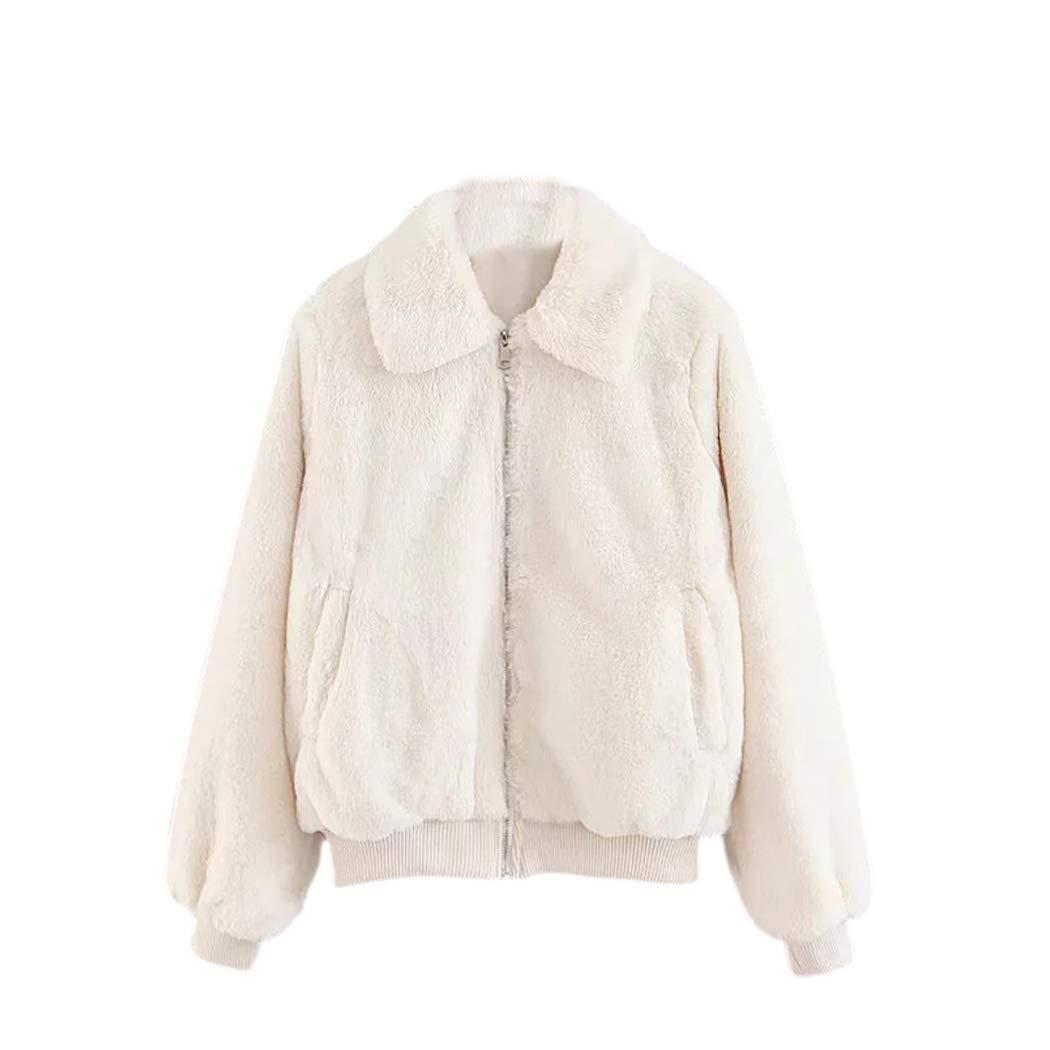 Inkach Women Cardigan Coat | Long Sleeve Faux Fur Winter Warm Sweater Jacket with Zipper Pocket (M, White)