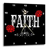3dRose RinaPiro Sugar Skull - Faith. Red Magnolia flowers. Bird. Black background. - 10x10 Wall Clock (dpp_282861_1)