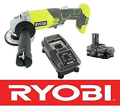 "Ryobi 18v 4-1/2"" Angle Grinder Cut Off Tool P421 + Battery P102 + Charger P118"