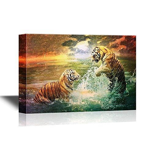 - wall26 Romantic Canvas Wall Art - Tiger and Tigress Playing in The Sea - Gallery Wrap Modern Home Decor | Ready to Hang - 24x36 inches