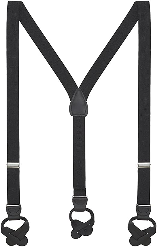NEW Men/'s Black Button Braces Suspenders Y Back Real Leather Elastic USA