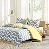 Intelligent Design Nadia Twin/Twin Xl Size Bed Comforter Set - Yellow, Chevron – 4 Pieces Bedding Sets – Ultra Soft Microfiber Bedroom Comforters