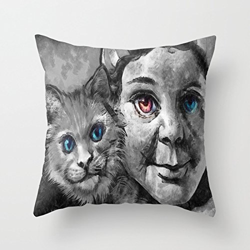 Ashasds The Girl Have Blue Red Eyes And The Pussy Cat Oil Painting Fashion Decoration Throw Pillow Covers For Home Indoor Friendly And Comfortable Cushion Covers Standard Size 18x18 IN (World Best Girl Pussy)