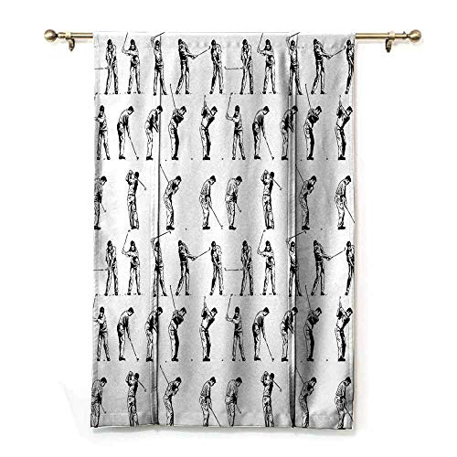 - Kids Room Curtains Golf Golf Swing Shown in Fourteen Stages Sports Hobby Themed Sketch Art Storyboard Print Privacy Protection W36 xL72 Black White