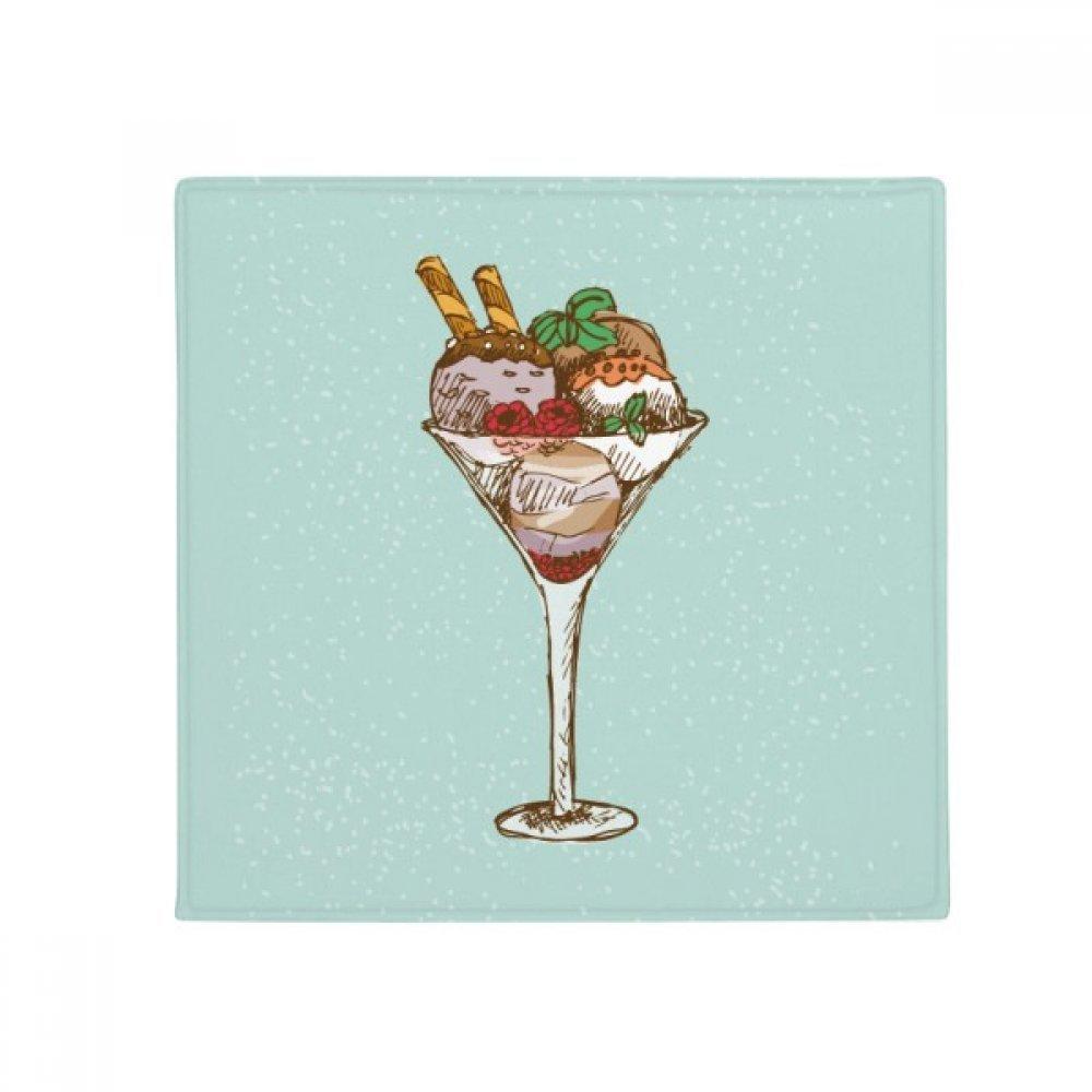 DIYthinker Leaves Flower Goblet Ice Cream Ball Anti-Slip Floor Pet Mat Square Home Kitchen Door 80Cm Gift