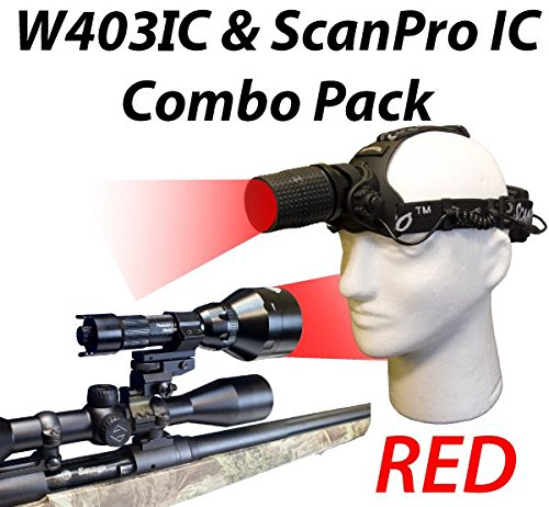 Wicked Lights W403IC & ScanPro IC Night Hunting Light and Headlamp Combo Pack With RED Intensity Control LED's for Predator, varmint & Hog