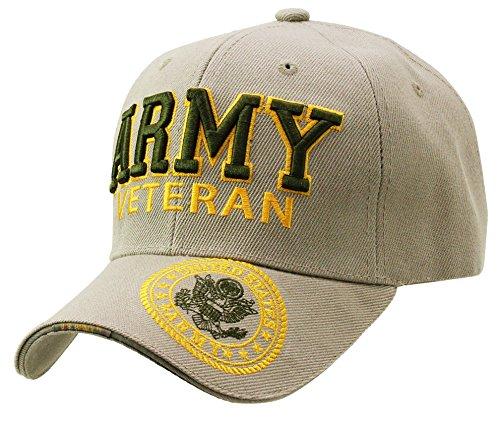 U.S. Military Cap Hat Army Veteran Green Logo Baseball Cap (Khaki Veteran)