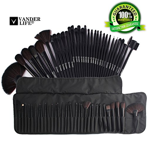 Professional Makeup Brush Set - 32pcs Cheap Makeup Brushes for Women and Girls - Premium Synthetic Kabuki Foundation Blending Blush Cosmetics Brushes Kit with Travel Bag (Black)
