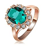 Daesar Rose Gold Plated Rings Womens Oval Cubic Zirconia Rings Promise Rings Size 6.5
